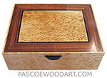 Handmade wood box - Decorative wood keepsake box made of bird's eye maple with masur birch framed in Brazilian kingwood with ebony stringing