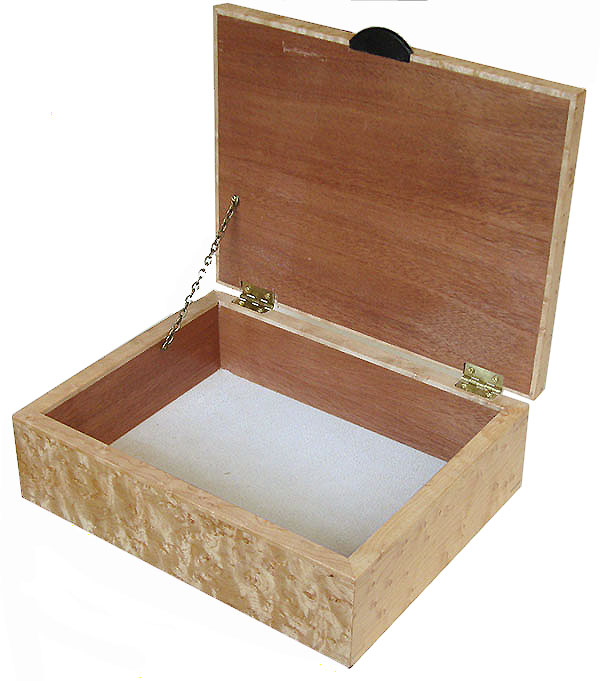 Handmade wood box open view - Decorative bird's eye wood keepsake box