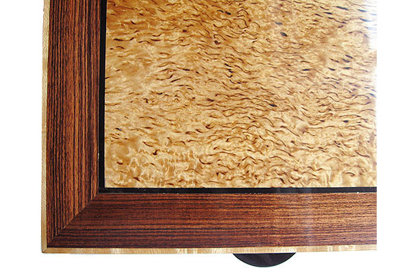 Masur birch framed in Brazilian kingwood box top close-up