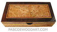 Handcrafted wood box - Decorative wood keepsake box made of maple burl, African blackwood
