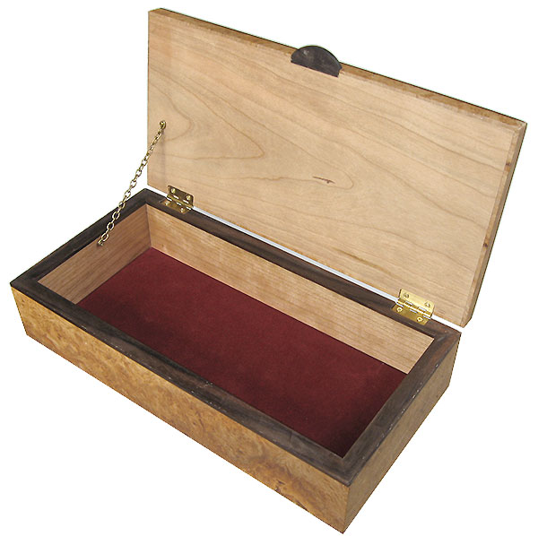Handcrafted wood box - open view - Decorative wood keepsake box made of maple burl, African blackwood