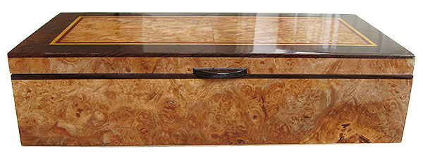 Maple burl box front - Handcrafted decorative wood keepsake box