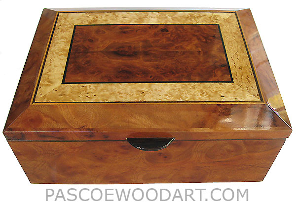 Handcrafted wood box - Decorative wood keepsake box with sriding tray made of camphor burl with beveled top made of redwood burl centerpiece framed in masur birch with ebony and satinwood stringing
