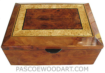 Handcrafted wood box - Decorative wood keepsake box with sliding tray - Camphor burl, Redwood burl, Basur birch, Ebony, Satinwood