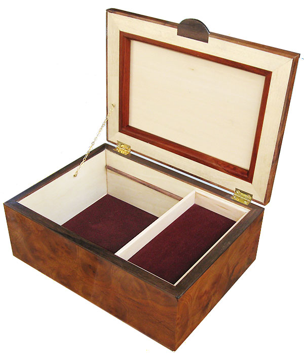 Handcrafted wood box - Decorative wood keepsake box with sliding tray - open view