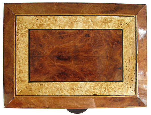 Redwood burl centerpiece framed in masur birch and camphor burl with ebony and satinwood stringing