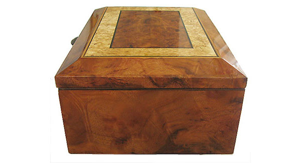 Camphor burl box end - Handcrafted wood decorative keepsake box