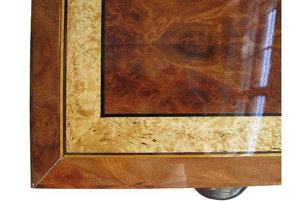 Handcrafted wood box top close-up - Redwood burl framed in masur birch and camphor burl with ebony and satinwood stringing - Close up