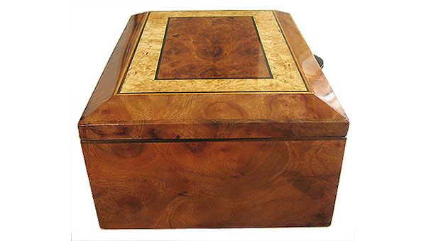 Camphor burl box end - Handcrafted decorative wood keepsake box