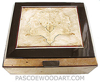 Handcrafted wood box - Decorative wood keepsake box made of maple burl with blackline spalted maple framed in African blackwood top