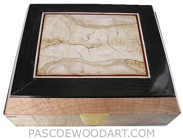 Handcrafted wood box - Decorative wood keepsake box made of figured maple with blackline spalted maple center framed in African blackwood top