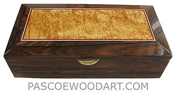 Handcrafted wood box - Decorative wood keepsake box made of ziricote with masur birch inset top