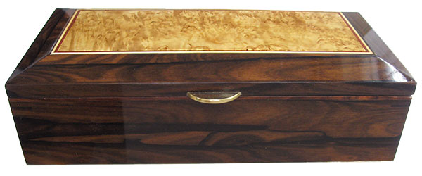 Ziricote box front - Handcrafted decorative wood keepsake box