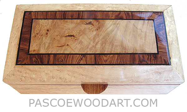 Handcrafted wood box - Decorative wood keepsake box made of birds eye maple with burley maple framed in Honduras rosewood and birds eye maple with ebony stringing top, with sliding tray