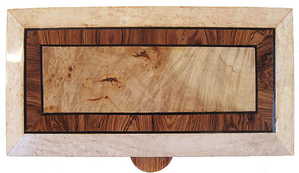 Burley maple framed in Honduras rosewood and birds eye maple with ebony stringing box top - Handmade wood decorative keepsake box