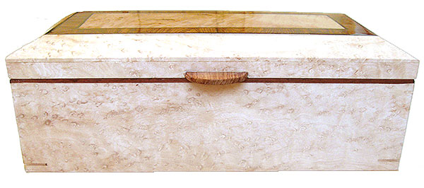Birds eye maple box front - Handmade wood decorative wood keepsake box with sliding tray