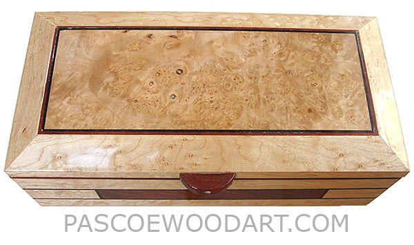 Handmade wood box - Decorative wood keepsake box made of birds eye maple veneer laminated over maple with inlay of bloodwood and ebony, top center piece with maple burl.
