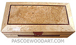 Handmade wood box made of birds eye maple with inlay of bloodwood and ebony, maple burl center piece on top
