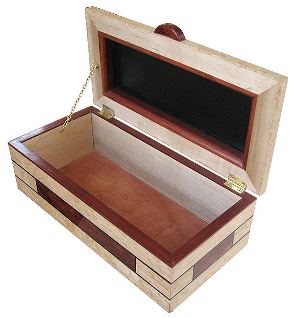 Handmade decorative wood box - open view