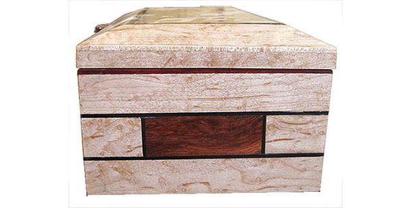 Birds eye maple with inlay of bloodwood and ebony box side - Handmade decorative wood keepsake box