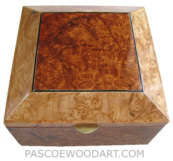 Handcrafted wood box - Decorative wood keepsake box made of maple burl with bevel top with amboyna burl center piece