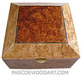 Handmade wood box - Decorative wood keepsake box made of maple burl with bevel top with amboyna burl center piece