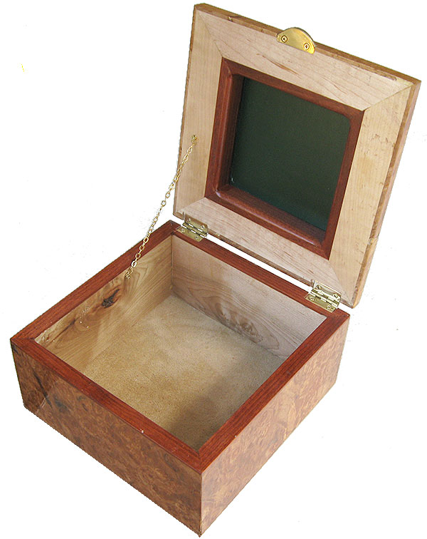 Handmade wood box - Decorative wood keepsake box open view