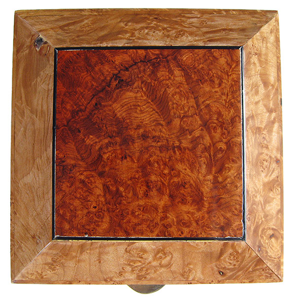 Bevel top with amboyna burl center piece - Handmade decorative wood keepsake box