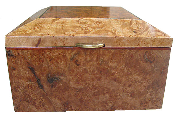Maple burl box front - Handmade decorative wood keepsake box