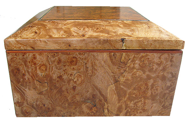 Maple burl box right box end - Handmade wood decorative keepsake box