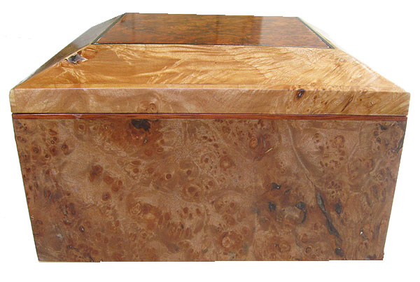Maple burl left box end - Handmade wood decorative keepsake box