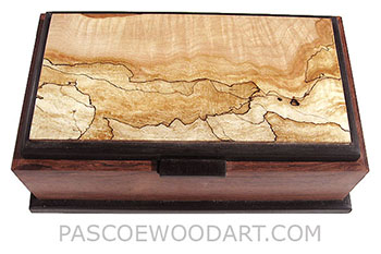 Handcrafted wood box - Decorative wood keepsake box made of Honduras rosewood, ebony, spalted maple