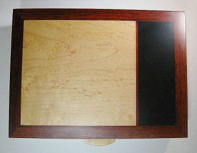 Bird's eye maple top inset of cocobolo box