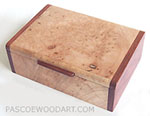Handmade smaller keepsake box or photo box made of maple burl with bubinga ends