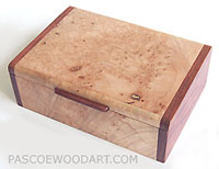 Maple burl box - Handmade smaller keepsake box or photo box made of maple burl with bubinga ends