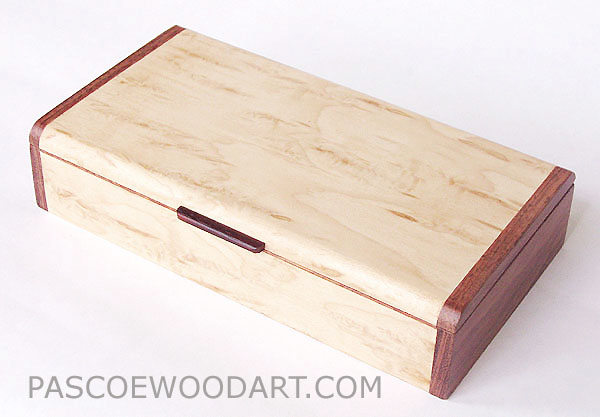 Handmade wood desktop box - Decorative wood keepsake box made of Karelian birch burl and bubinga