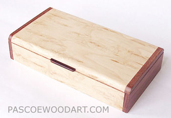 Wood keepsake box handmade of Karelian birch burl with bubinga ends