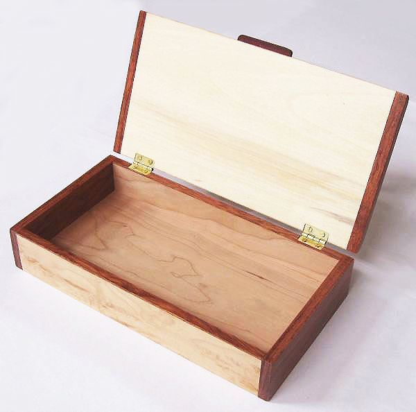Decorative desktop box open view - Handmade wood desktop box