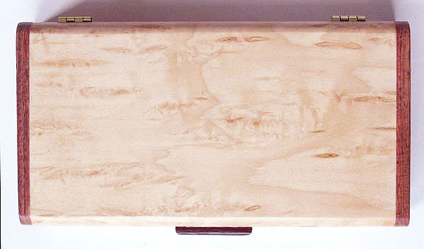 Karelian birch burl box top - Handmade decorative wood desktop box