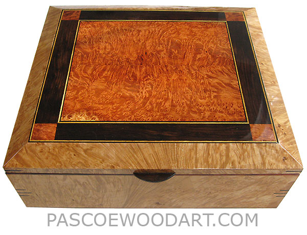 Handcrafted large wood box - Decorative wood large keepsake box or document box made of maple burl with redwood burl, African blackwood mosaic top with ebony and Ceylon satinwood striping