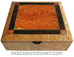 Handcrafted large wood box - Decorative wood large keepsaske box or document box made of figured maple burl with redwood burl, African blackwood mosaic box top