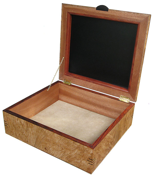 Handcrafted large wood box - Decorative wood large keepsake box open view