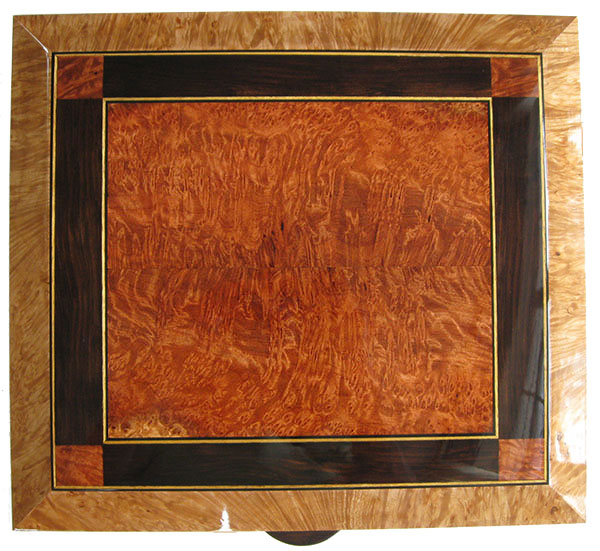 Redwood burl, African blackwood mosaic box top with Ceylon satinwood and ebony triming in maple burl frame