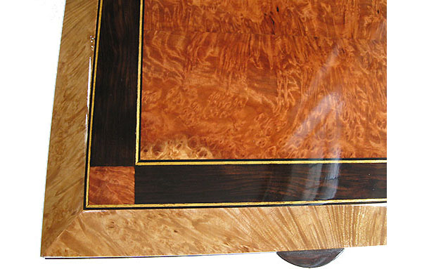 Redwood burl center piece framed in African blackwood and maple burl with ebony and satinwood striping box top close-up - Large decorative wood keepsake box