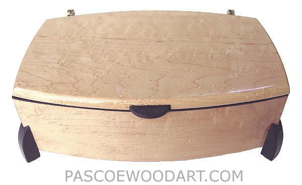 Decorative wood keepsake box - Handcrafted wood box made of bird's eye maple with ebony trim and legs