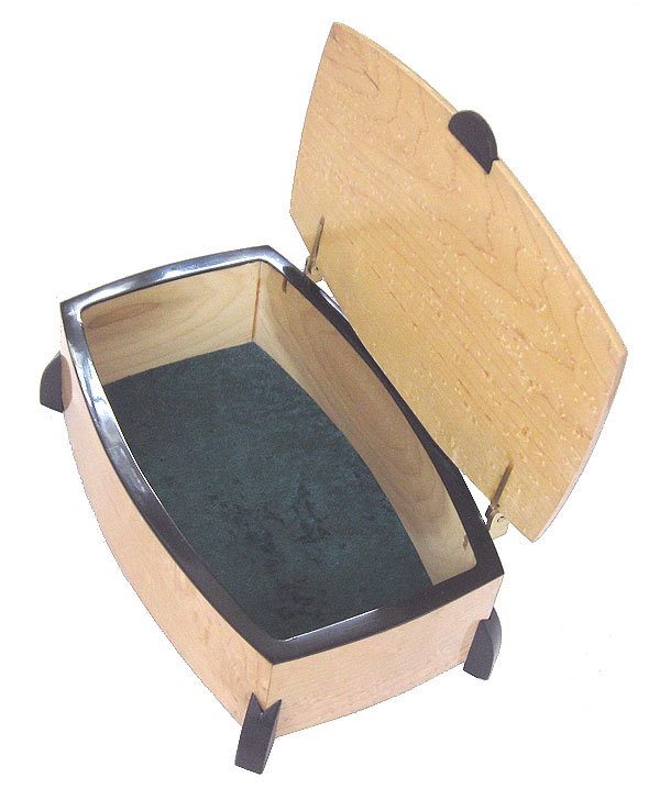 Handmade wood keepsake box made of bird's eye maple with ebony trim and legs -open view