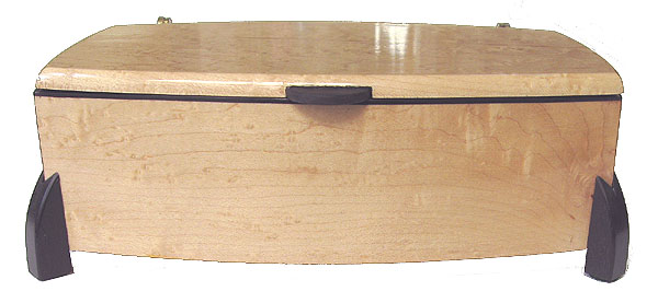 Decorative wood keepsake box - front view - Handcrafted wood box made of bird's eye maple with ebony trim and legs