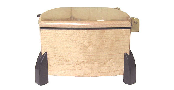 Decorative wood keepsake box - side view - Bird's eye maple with ebony legs and trim