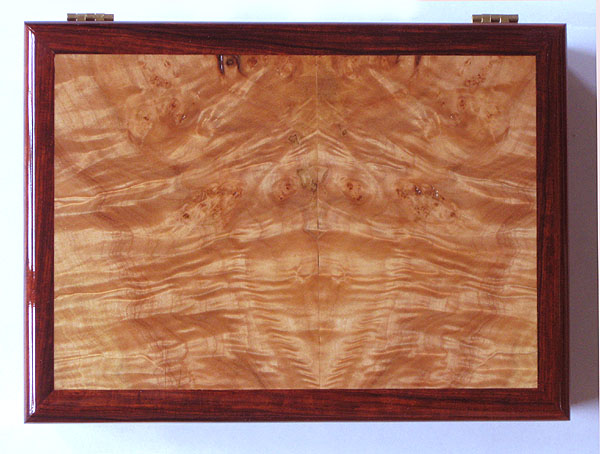Cocobolo box - Wood man's valet box, handmade man's keepsake box - Cocobolo and maple burl wood - Top view
