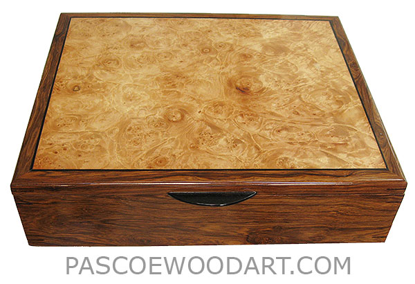 Handcrafted wood box - Men's valet box, keepsake box made of Honduras rosewood, bleached maple burl